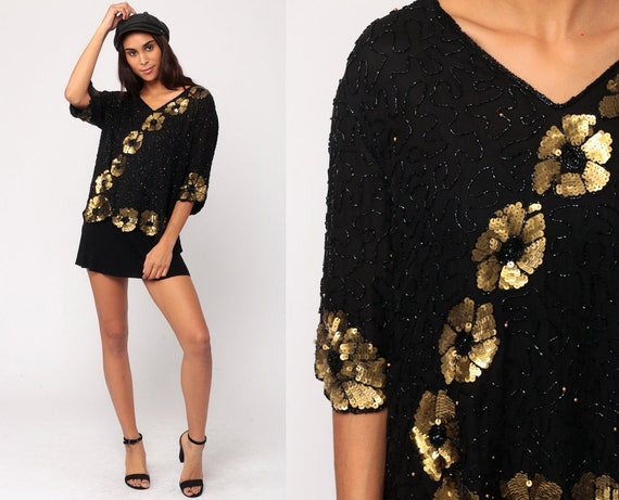 Sequin Blouse Beaded Top Silk Blouse 90s Black Blouse Gold Floral Formal Beading Vintage Party Top Extra Large xl