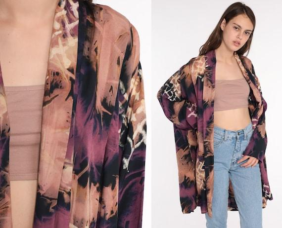 Kimono Jacket Tie Dye Jacket 90s Oversized Bohemian Open Front WRAP Indonesian Jacket Vintage Festival Hippie Boho Small Medium Large
