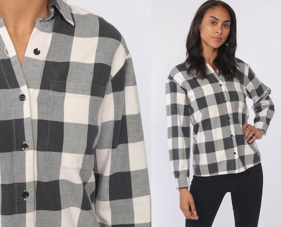 Black Flannel Shirt White Buffalo Plaid Shirt 90s Grunge Long Sleeve Button Up 1990s Lumberjack Vintage 80s Extra Small xs