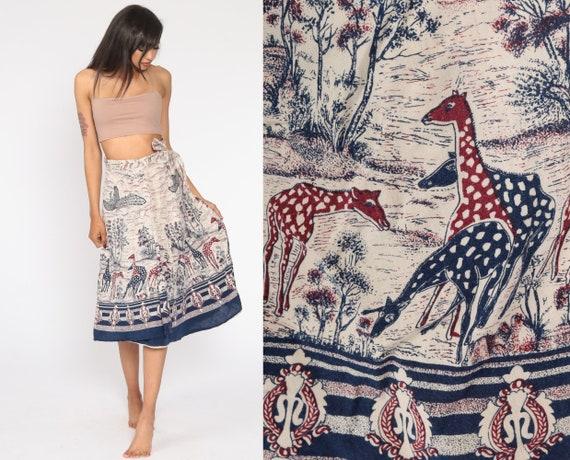 Giraffe Wrap Skirt Hippie Indian Bird Print Midi Ethnic Boho Cotton Bohemian Batik High Waist Vintage Festival Extra Small Medium XS