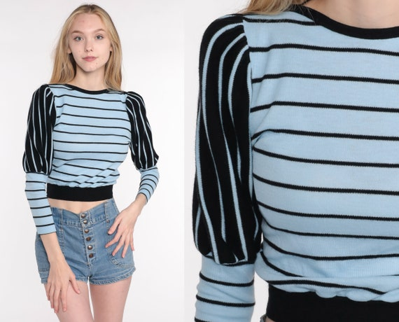 80s Puff Sleeve Sweater Cropped Sweater Baby Blue Striped Sweater Knit Juliet Sleeve Sweater Crop Pullover Sweater 1980s Vintage Small xs s