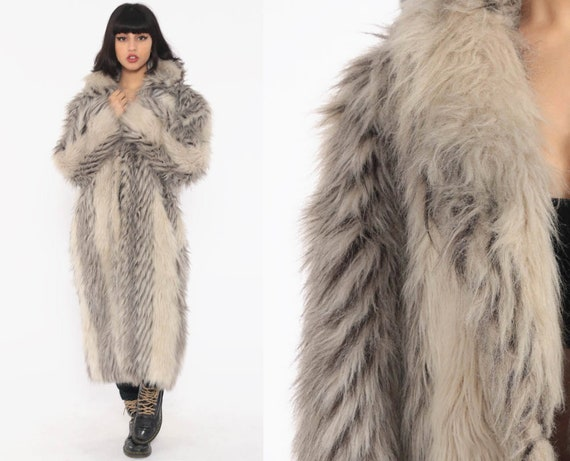 Faux Fur Coat 70s Long Fake Fur Jacket Boho Coat Grey Glam Maxi Jacket Fuzzy Vegan Vintage 1970s Bohemian Disco Winter Medium Large