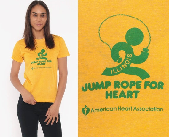 Jump Rope For Heart Shirt Illinois Shirt 80s Screen Stars Tee Burnout Tshirt Paper Thin Vintage Retro T Shirt 1980s Graphic Tee Small