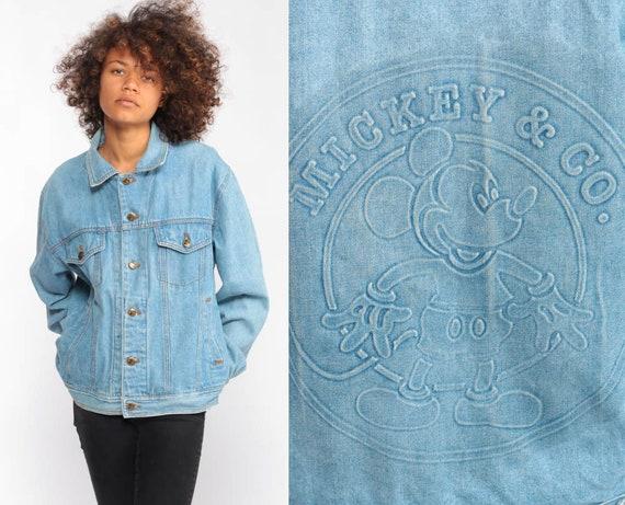 Disney Denim Jacket MICKEY MOUSE Jacket Vintage 90s Jean Jacket Grunge Biker Stone Wash Button Up 1990s Hipster Coat Extra Small xs
