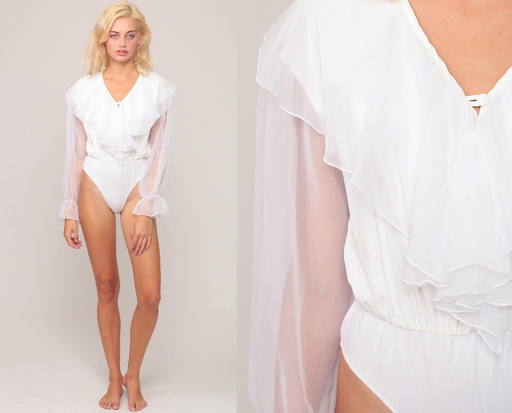 e51a3660984d98 White Chiffon Blouse Bodysuit Top 70s Boho Top Sheer RUFFLE ...