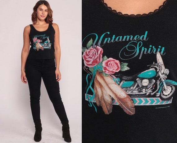 Biker Tank Top UNTAMED SPIRIT Motorcycle Shirt 90s Vintage Shirt Retro Shirt Graphic Tee 80s Retro Black Large