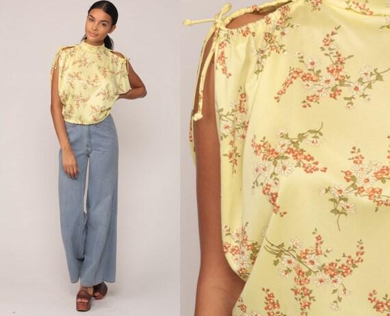 Hippie Blouse Floral Shirt 70s Boho Top COLD SHOULDER Shirt Bohemian Yellow Summer Top Vintage 1970s Cutout Keyhole Top Medium Large