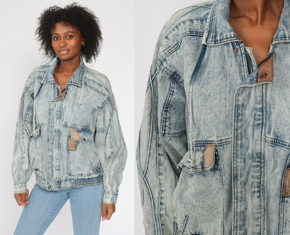 Cargo Jean Jacket Acid Wash Bomber Jacket Vintage 80s Denim Jacket Blue 90s Oversize Extra Large xl l