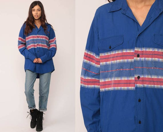 Striped Shirt Southwestern Print Aztec Shirt 90s Tribal Long Sleeve Button Up 1990s Vintage Grunge Southwest Royal Blue Extra Large xl