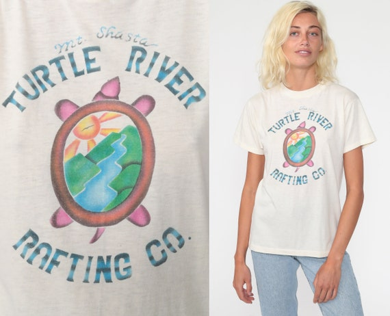 Mt Shasta Shirt -- Turtle River Rafting Shirt Vintage California Mountain Retro T Shirt 80s Vintage Graphic 1980s Paper Thin Burnout Small