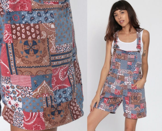 Patchwork Overall Shorts 90s Jean Shorts Denim Bib Shortalls Floral Paisley Romper Playsuit Grunge Blue Woman 1990s Vintage Small Medium
