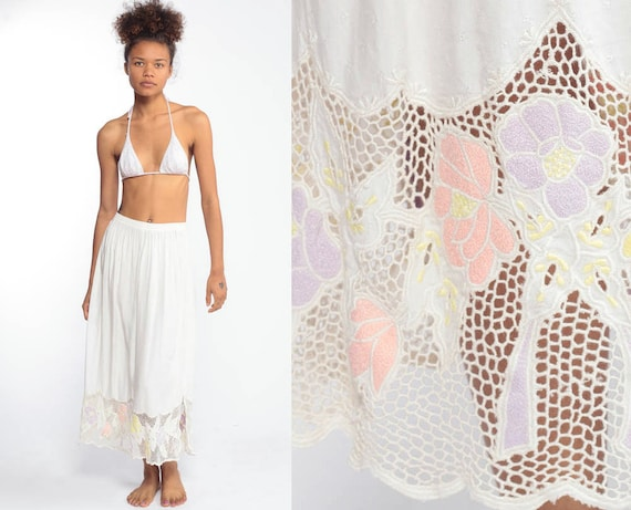 Boho Skirt EMBROIDERED MESH Cut Out Bali Floral Maxi Skirt 80s High Waisted Pastel Pink Summer Beach 1980s White Bohemian Small Medium xs