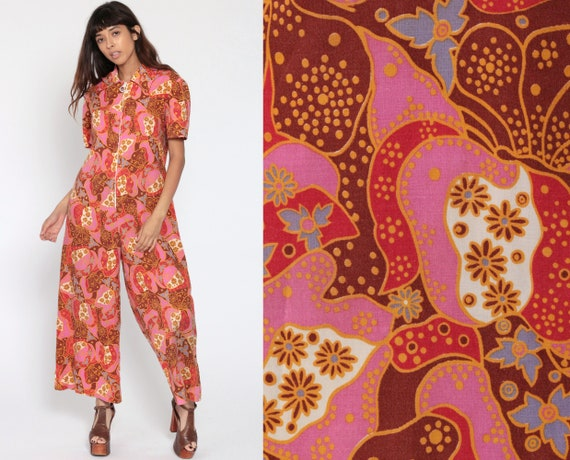 Psychedelic Butterfly Jumpsuit 70s Boho Pink Wide Leg Palazzo Hippie Zip Up 1970s Disco Vintage Bohemian Pantsuit Pants Small Medium