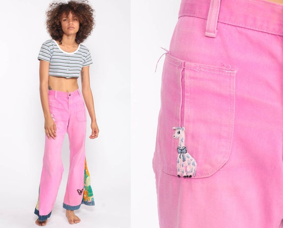 Hippie Bell Bottoms Pants 70s Boho Bellbottom Pants Pink PATCHWORK DIY High Waisted 1970s Vintage Bohemian Trousers Extra Small xs 2