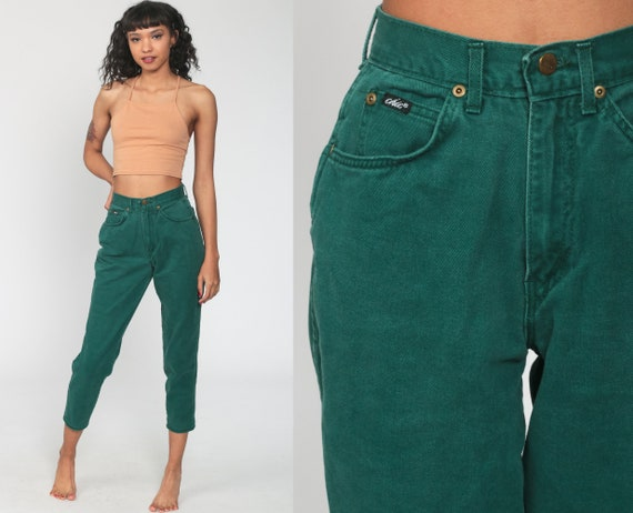 Green Mom Jeans 25 Jeans Tapered Jeans High Waist Jeans 80s High Waisted Denim Pants 90s Vintage Retro Vtg Denim Short Extra Small xs