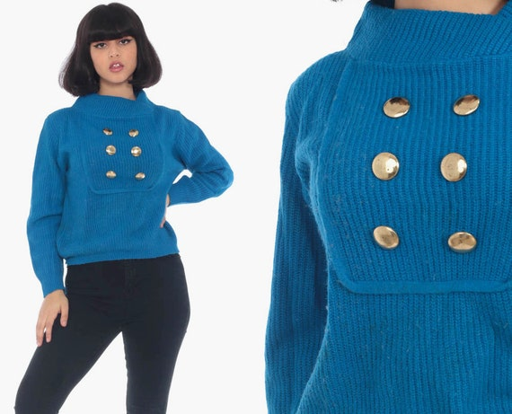 Royal Blue Sweater 70s Knit Pullover Gold Double Breasted Button Up 80s Asymmetrical Collar Slouchy Boho Vintage Retro Small