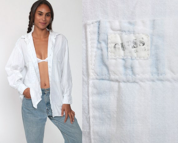 GUESS Shirt 90s Faded Striped Shirt White Button Up Blouse Long Sleeve Top Grunge 1990s Vintage Blue Small Medium