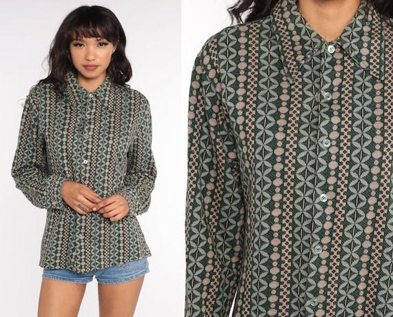 Geometric Shirt 70s Disco Top Bohemian Shirt Op Art 1970s Hippie Blue Brown Psychedelic Long Sleeve Button Up Boho Retro Green Medium Large