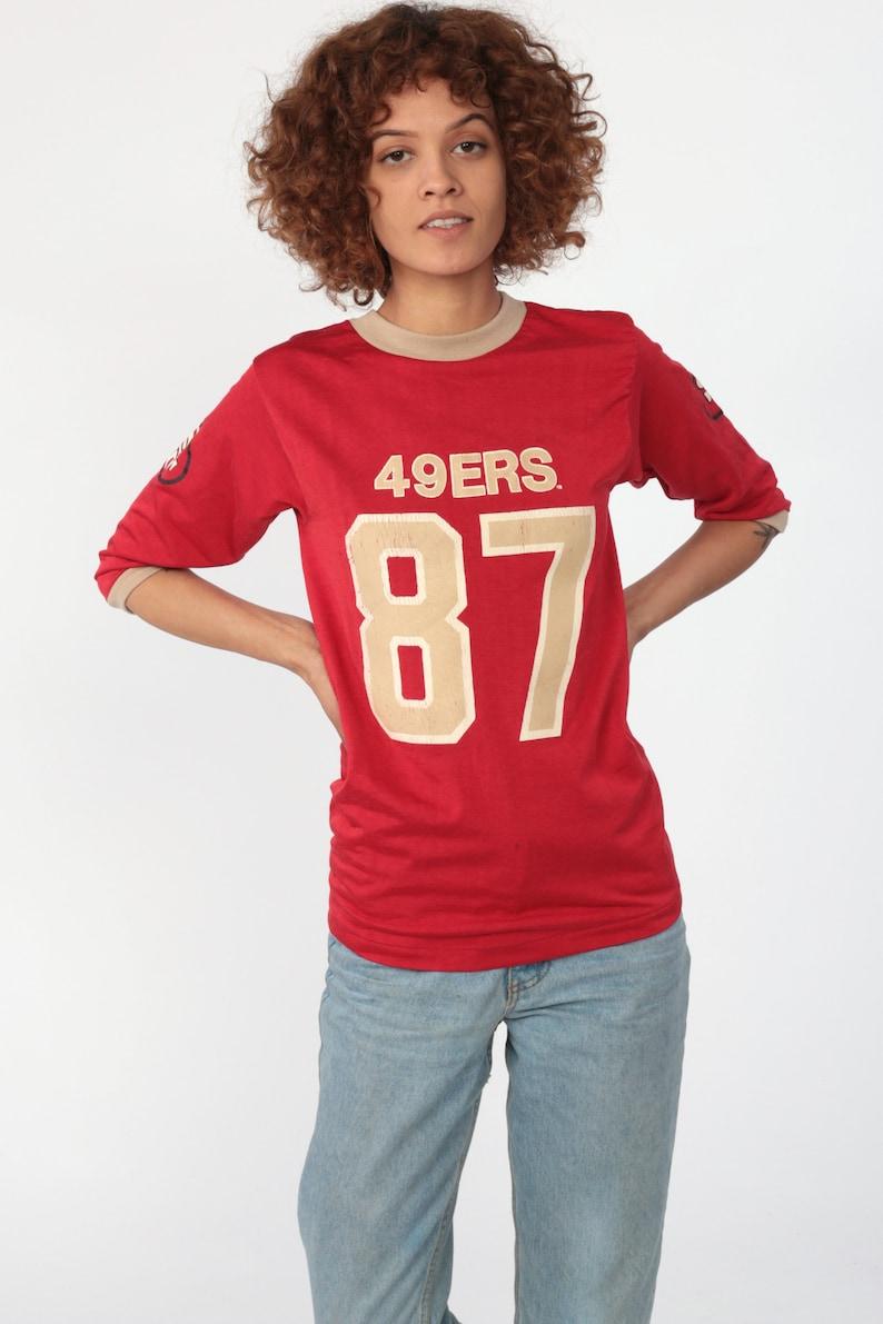 official photos af6d6 f4fb1 49ers Shirt Football Tshirt San Francisco 80s NFL T Shirt Football Jersey  87 Dwight Clark California Tee Sports Vintage Retro Extra Small xs