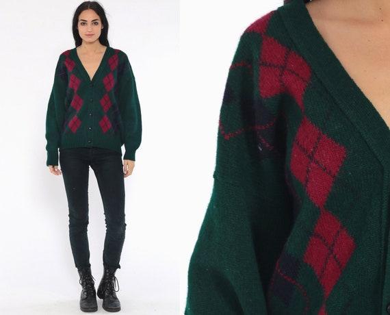 80s Argyle Cardigan Sweater -- Plaid Wool Sweater DIAMOND PRINT Grunge Button Up 1980s Preppy Grandpa Green Medium Large