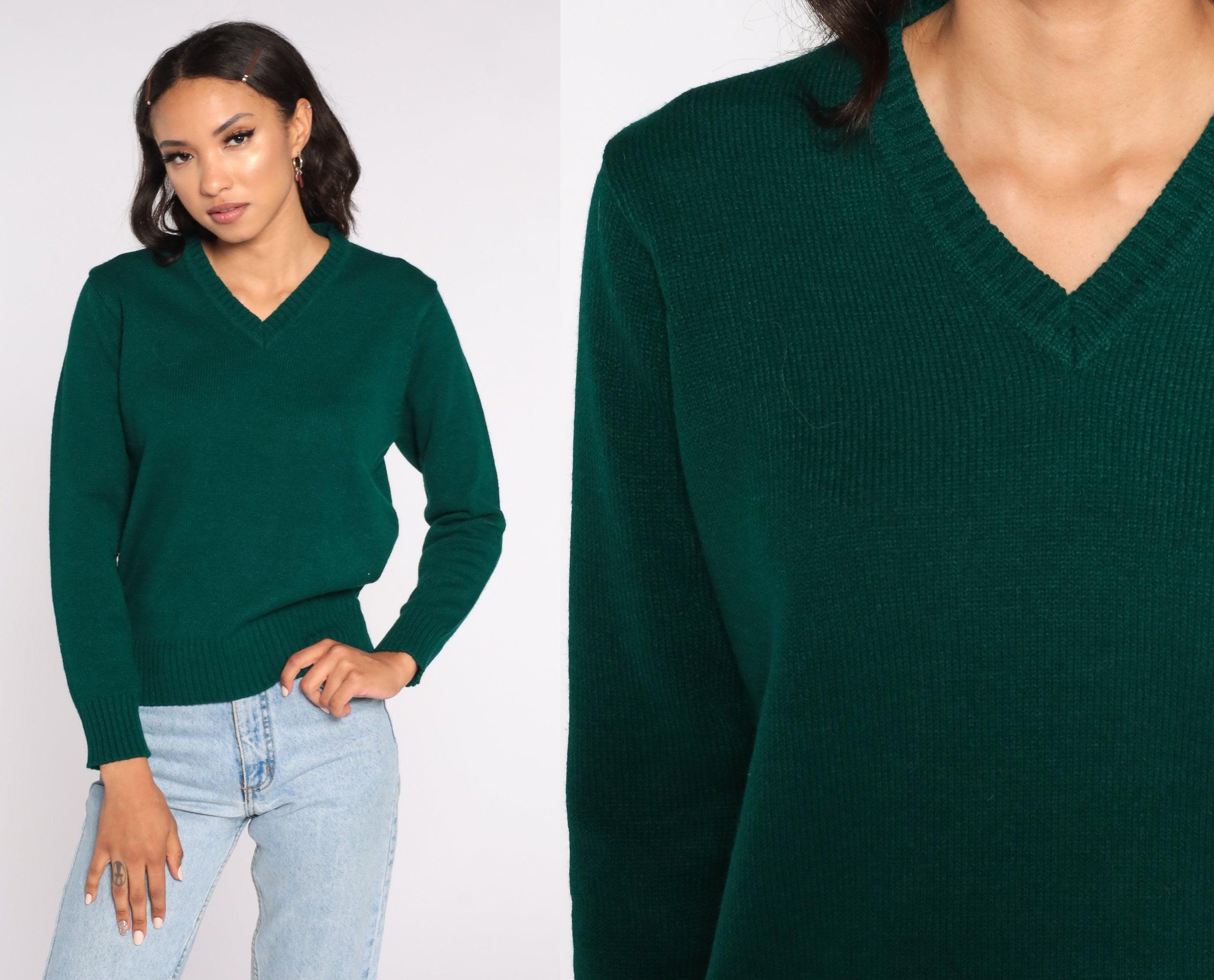 80s Sweatshirts, Sweaters, Vests | Women Green Sweater V Neck Slouchy 80S Grunge Hipster Plain Knit 1980S Vintage Normcore Retro Medium $39.00 AT vintagedancer.com