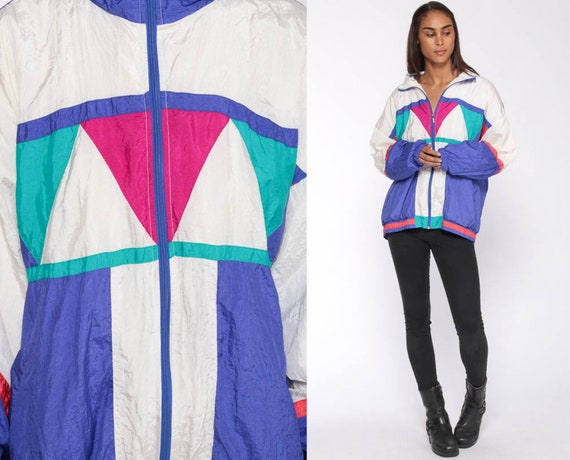 90s Windbreaker Jacket Shiny Purple White Color Block Geometric Print Hipster Vintage 1990s Hot Pink Extra Large xl l
