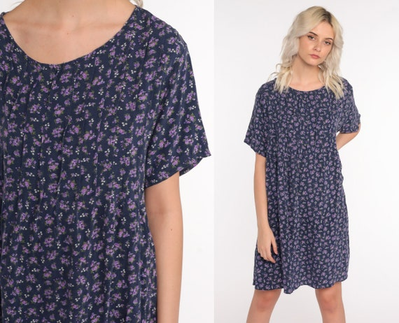 Floral Mini Dress 90s Cotton Blue Purple Grunge Revival 1990s Vintage Shift Short Sleeve Retro Summer MiniDress Extra Large xl