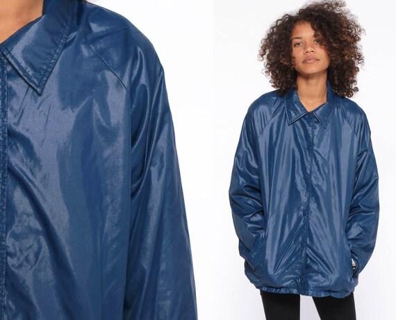 REVERSIBLE Baseball Jacket -- 80s Nylon Jacket Blue Sportswear Windbreaker Tan Coach Jacket Cafe Racer Jacket Navy Collared Small Medium