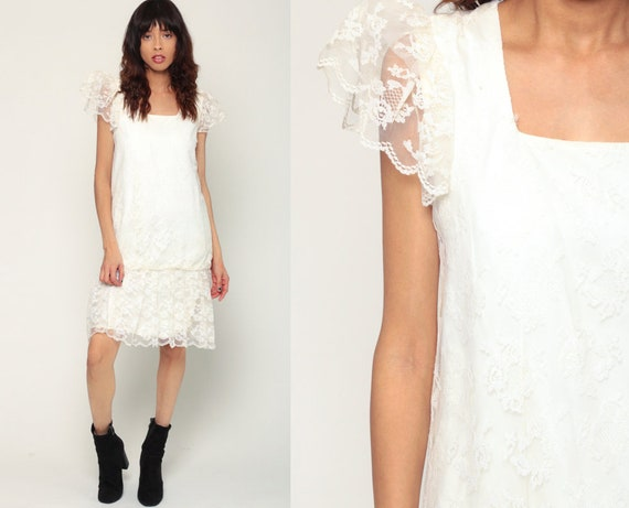 White Lace Dress 80s Party Dress Mini Puff Sleeve Prom Drop Waist 1980s Wedding Dress Formal Cocktail Vintage Minidress Small Medium