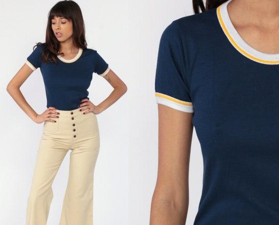 80s Ringer Shirt 70s Navy Blue Tee Ringer TShirt Top Retro 1970s Vintage Stranger Things Short Sleeve Cotton Poly Small Medium