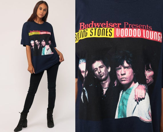 ROLLING STONES Shirt 90s Band Tee Voodoo Lounge Tshirt Budweiser Rock N Roll World Tour Shirt Concert Vintage 1994 Navy Extra large xl