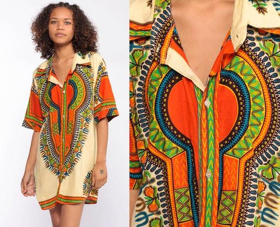 Dashiki Top 70s Shirt Tunic Top Ethnic Blouse Button Up 1970s Hippie Boho Cotton African Bohemian Vintage Pocket Medium Large