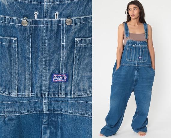 Big Smith Jean Overalls 90s Denim Pants Coveralls Work Wear Baggy 1990s Dungarees Bib Boyfriend Vintage Carpenter Men's Extra Large xl