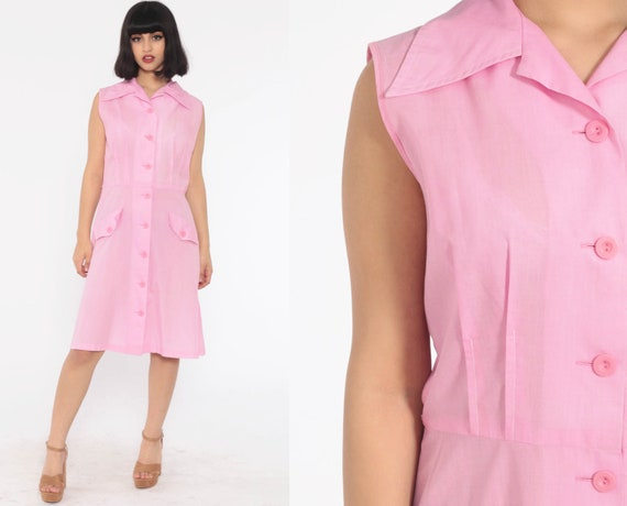 70s Mod Dress Bubblegum Pink Sleeveless Mini Button Up Shift Twiggy 1970s Vintage Pocket Knee Length Collared Midi Cotton Blend Medium