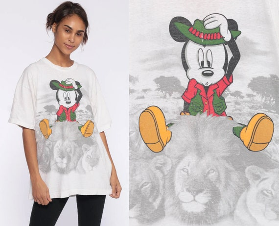 Safari Mickey TShirt -- 80s Walt Disney Shirt Mickey Mouse Shirt Lion Graphic Distressed Jungle Vintage Retro Tee 90s Kawaii Extra Large xl