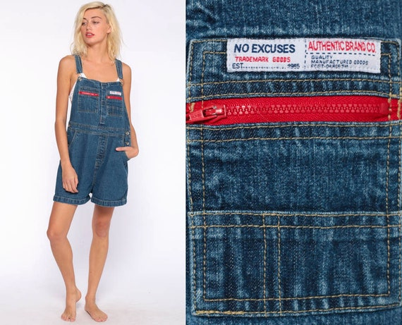 Denim Overall Shorts No Excuses Shortalls 90s Grunge Jean Bib Suspender Blue Denim One Piece Woman Vintage Romper Large l