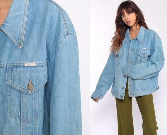 Denim Jacket 70s Jean Jacket Blue Biker Normcore Trucker Vintage Bohemian 1970s Hipster Button Up Extra Large xl 2xl xxl