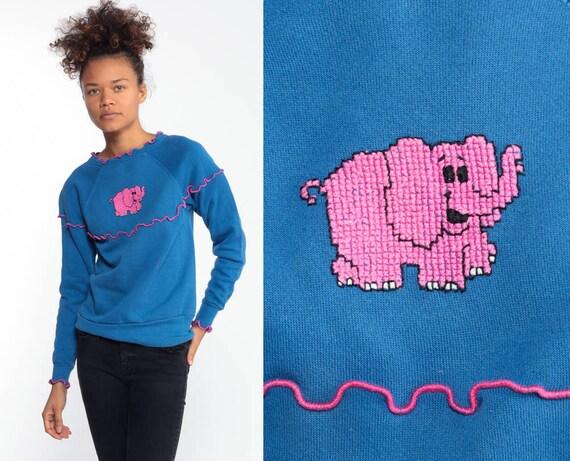 Pink Elephant Sweatshirt 80s Animal Raglan Sleeve Sweatshirt Ruffle Lettuce Edge Vintage Slouchy Kawaii Japan Graphic Extra Small XS