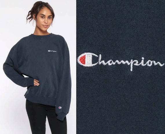 Champion Sweatshirt Crewneck Pullover Sports Jumper 90s Streetwear Shirt Navy Blue Slouch 1990s Vintage Extra Large xl l