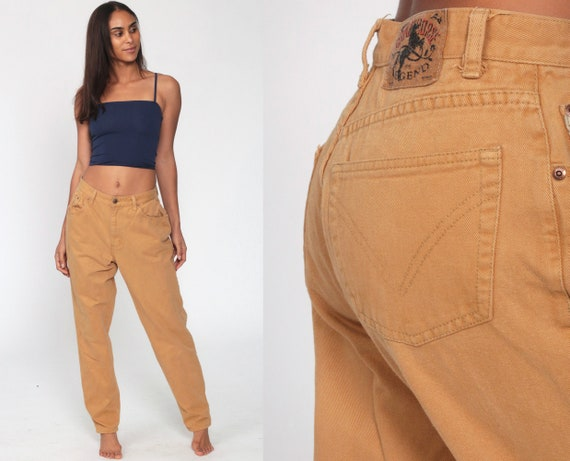 Tan Jeans Straight Leg Denim 90s Khaki Jeans High Waist Jeans 90s Denim Pants Vintage Retro High Waisted Pants Crazy Horse Legend Medium