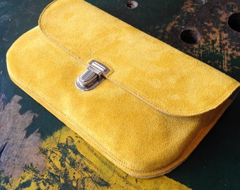 Mustard Yellow Suede Clutch