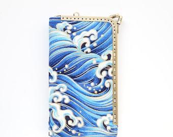 Waves Sailing Deep Blue Sea iPhone wallet (iPhone 13 12 Pro/Pro Max/Mini, Samsung Galaxy S21/S21+ etc.)