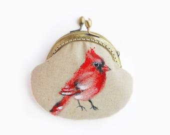 Red Cardinal Hand Painted Bird Vintage Purse