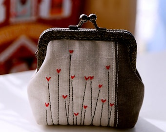 Grey linen and Red hearts little coin and card Purse
