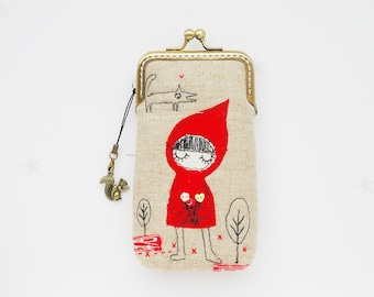 iPhone Case/Glasses Case -- Little Red Riding Hood Free Motion Embroidery ( iPhone X, iPhone 8, iPhone 8 Plus, Samsung Galaxy S8 etc. )