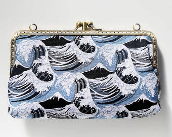 Japanese Ukiyo-e waves wallet double pockets with cards holder and zipper inner pocket