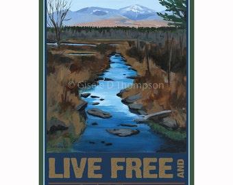 Live Free and Explore NH Poster 8x12 print Pondicherry