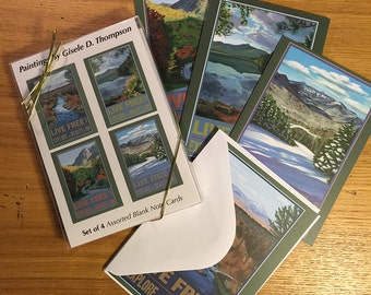 Set of 4 Blank Note Cards, Live Free and Explore