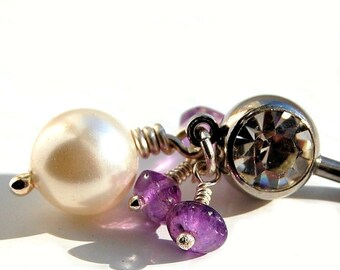 """Belly Ring / Belly Jewelry /  Swarovski Pearl and Amethyst  / """"Breathless"""""""