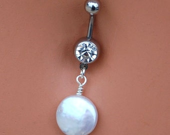 Pearl Belly Ring / Dangle Belly Button Rings / Navel Jewelry / Belly Dance / Pearl Navel Ring / Rock Your Belly / Unique Belly Ring
